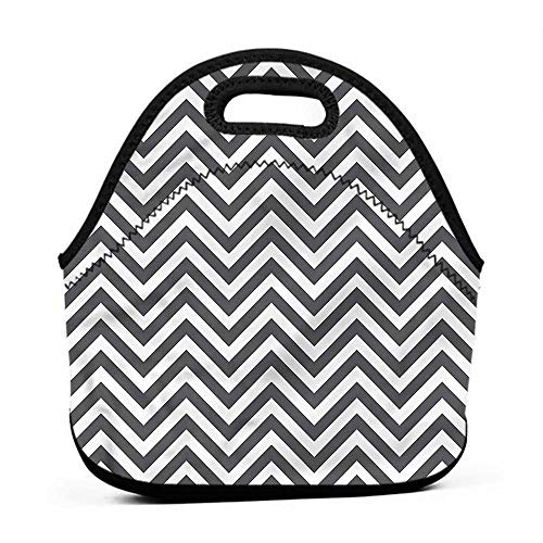 Large Size Reusable Lunch Handbag Grey and White,Ethnic Arrows Zigzag,cat lunch bag for women