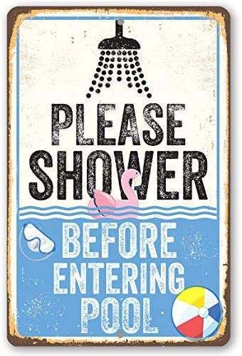 Tamengi Metal Sign - Please Shower Before Entering Pool - Durable Metal Sign - Use Indoor/Outdoor - Great Gift and Decor for Swimming Pool 8 in X 12 In, Wall Art Decor