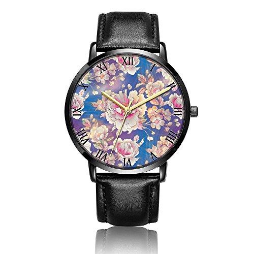 Whiterbunny Customized Floral Pattern Wrist Watch Unisex Analog Quartz Fashion Black Leather Strip/Black Dial Plate for Women and Men ()