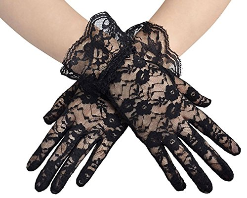 Lace Floral Short Tulle Bridal Gloves (Black) -