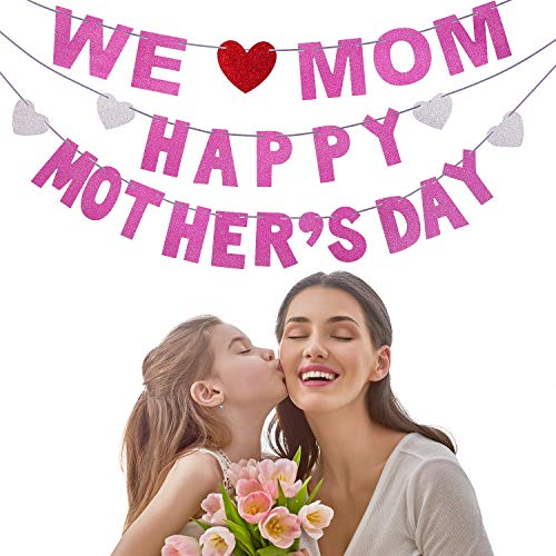 (Blulu Happy Mother's Day Banner and We Love Mom Banner Garland for Mother's Day Decorations Photo Prop Photo Booth Backdrop (Style A))