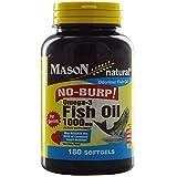 Mason No Burp Omega-3 Fish Oil 1000mg Softgels, 180 Count Per Bottle