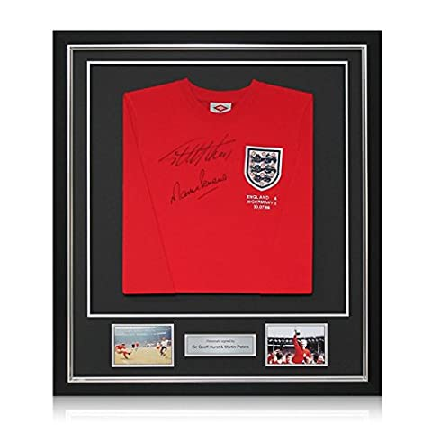 Deluxe Framed Sir Geoff Hurst And Martin Peters Signed England Soccer Jersey (Silver Inlay)   Autographed - Deluxe Framed Jersey