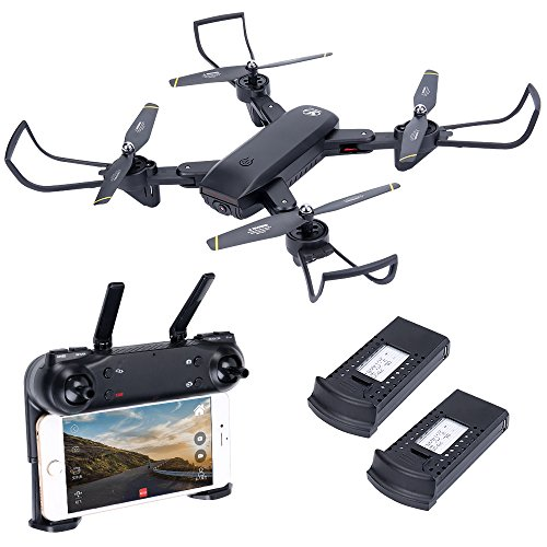 HuiShuTek RC Quadcopter Drone with Dual Camera 720P WiFi 2.4GHz 6-Axis Gyro with Altitude Hold, One Key Return and Headless Mode, Optical sight Function,for Kids & Beginners ,Foldable