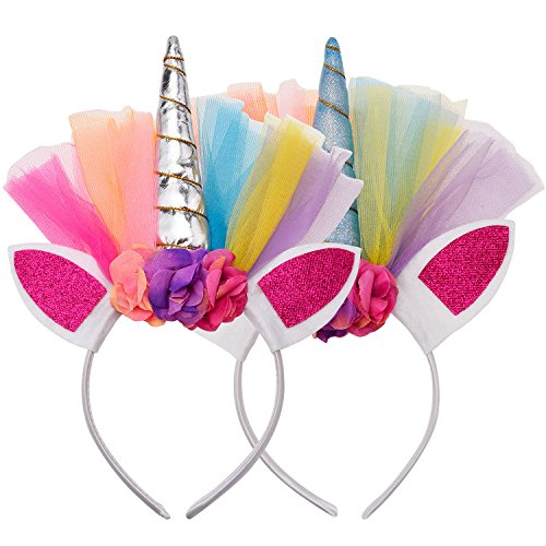 Frienda 2 Pieces Hair Hoops Unicorn Headbands Childrens Party Supplies Halloween Cosplay Costume Makeup Birthday Party Headdress ()