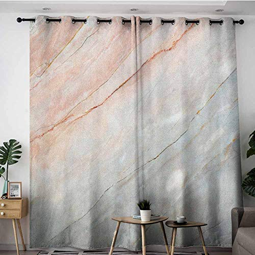 Extra Wide Patio Door Curtain,Marble Onyx Stone Textured Natural Featured Authentic Scratches Artful Illustration,Space Decorations,W84x96L Peach Pale Grey