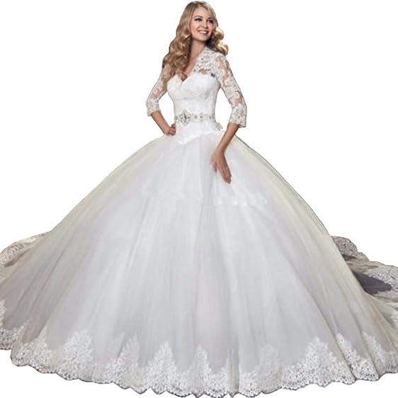 Lovelybride Glamorous 3/4 Sleeve Lace Ball Gown Wedding Dress for ...