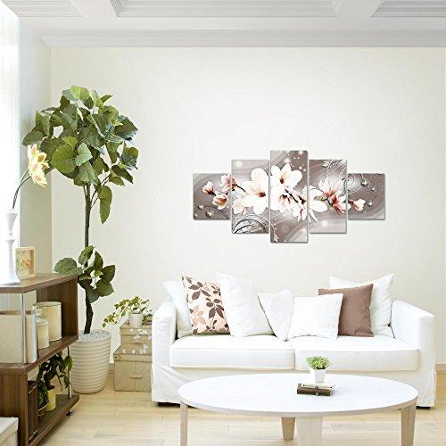 Bilder-Blumen-Magnolien-Wandbild-Vlies-Leinwand-Bild-XXL-Format-Wandbilder-Wohnzimmer-Wohnung-Deko-Kunstdrucke-Braun-5-Teilig-100-MADE-IN-GERMANY-Fertig-zum-Aufhngen-006252a