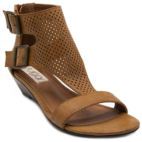 Sugar Womens' Wigout Demi Wedge T-Bar Open Toe Buckle Sandal, Cognac Perf, 10 Medium US