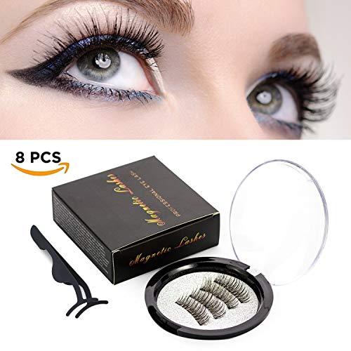 Magnetic Eyelashes False Eyelashes, Fake Eyelashes Full Eye with 3 Magnets Eyelash Kit + Reusable Eyelash Extensions Tweezers Applicator 2 pair/ 8pcs