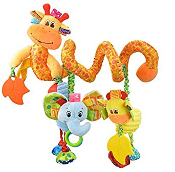 Pink Plush Bed Winding Toys Spiral Toy Infant Baby Car Seat Toy Pram Toddler Toys Dolls Bed Hanging Toys Stroller Toy