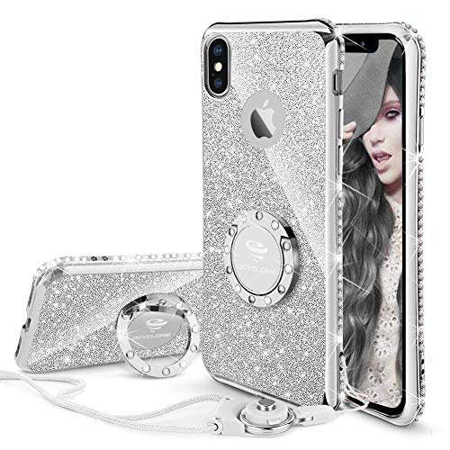 - OCYCLONE iPhone X/XS Case Cute, Glitter Bling Girly Diamond Rhinestone Bumper with Ring Kickstand Stand Protective Phone Case for iPhone X/iPhone Xs for Women Girls Teens - Silver