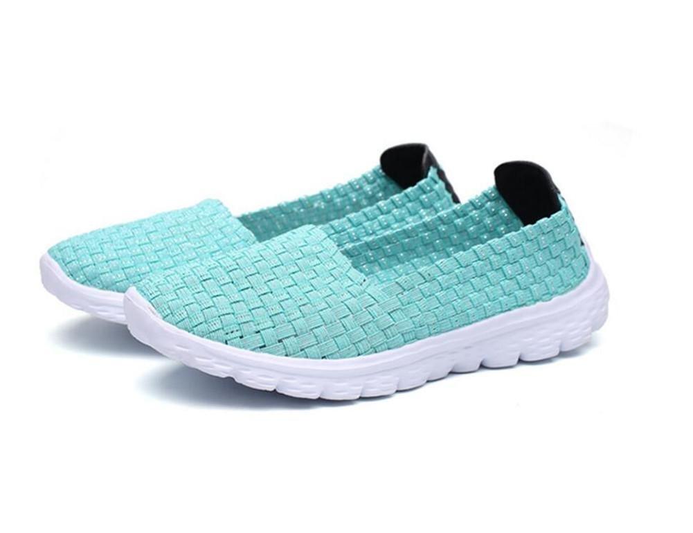 XIE Verano Señoras Plana Transpirable Tejidos a Mano Zapatos Deportivos Deslizamiento en los Zapatos Perezoso, 39 39|green