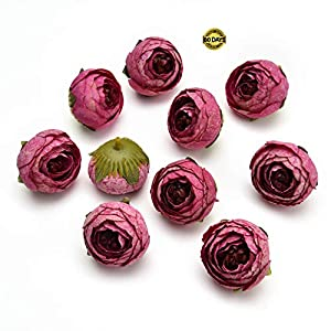 Silk Flowers in Bulk Wholesale Fake Flowers Heads Wedding Party Home Decoration Wreath DIY Scrapbooking Crafts Small Artificial Tea Rose Bud Silk Flower Head 3cm 25pcs (Rose red) 34