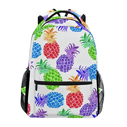 ZZKKO Hiking College Bag Backpacks Travel Pineapple Camping Summer Daypack School Colorful Book qx674Tpqw1