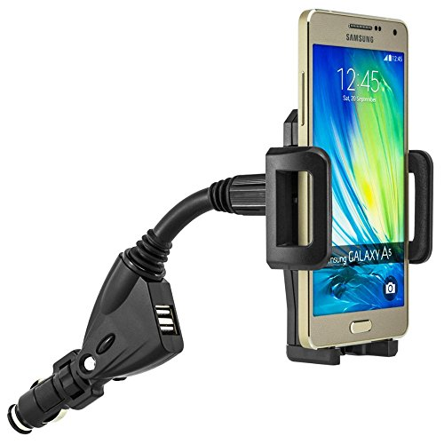 YtPgto Universal Dual Usb 2 Port Car Charger Holder For Samsung Galaxy A3 A5 A7 A8 360 Rotating Cell Phone Mount Stand from YtPgto