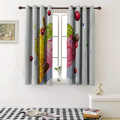 shenglv Colorful Drapes for Living Room Delicious Tasty Ice Cream on Cone with Cherries Bonbon Candies Chocolate Vibrant Curtains Kitchen Window W96 x L72 Inch Multicolor