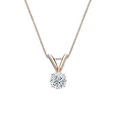 e894785a9 Diamond Wish 14k Rose Gold Round Diamond Solitaire Pendant Necklace (1/5 ct,