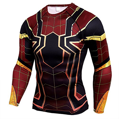 Mens Dri-Fit Compression Shirt,Super Heros Red Ironmen Sports Running Tee XL -
