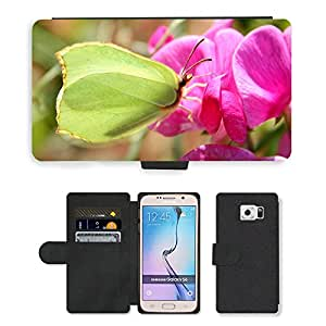 Hot Style Cell Phone Card Slot PU Leather Wallet Case // M00112741 Gonepteryx Rhamni Butterfly Insect // Samsung Galaxy S6 (Not Fits S6 EDGE)