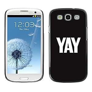 TopCaseStore / la caja del caucho duro de la cubierta de protección de la piel - Black Text Minimalist White - Samsung Galaxy S3 I9300