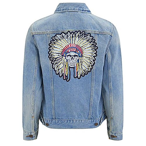 Treasure-Quest Skull Native American Tribal -24.7 cm X 24 cm Big XL Iron on Patch Embroidered Sew on Patches Embroidery Applications Applique Patches for Clothing Badge Backpack Jacket Jeans