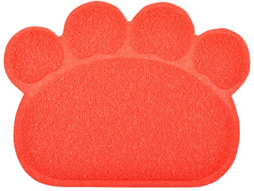 Paw-Shaped Cat Litter Box Debris Catcher Mat,8 Colors Available,15.7511.75 Inches (Red)