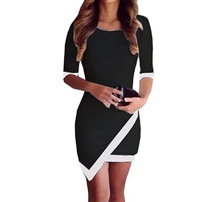 Holacha Mini Vestido Vendaje Bodycon Irregular de Medias Mangas de Fiesta de Noche Para Mujeres Negro