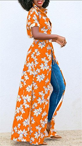Tie Low Orange Dress Sleeve Shirt Maxi Cromoncent Stylish High Womens Short Graphic IPR0OUq