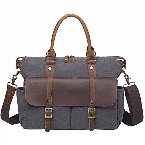 Berchirly Vintage Canvas Shoulder Handbags, Crossbody Menssenger Bag For Men Dark Gray