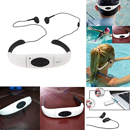 FM TechCode for Underwater Music Waterproof White Stereo Sport MP3 Earphones Swimm Bluetooth ear Swimming Player Player Neckband Headphones Headset MP3 Player Running Swimming Radio Audio Bluetooth with In zSnwEvqB