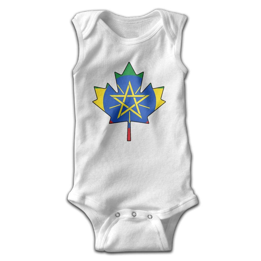 MMSSsJQ6 Canadian Ethiopia Flag Baby Newborn Crawling Clothes Sleeveless Romper Bodysuit Rompers Jumpsuit White