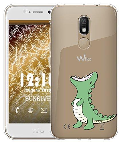 Funda Para Wiko Wim Lite 5,0 pulgadas, Sunrive Silicona Funda Slim Fit Gel Transparente Carcasa Case Bumper de Impactos y Anti-Arañazos Espalda Cover(tpu Gato 2)+1 x Lápiz óptico tpu Dinosaurio