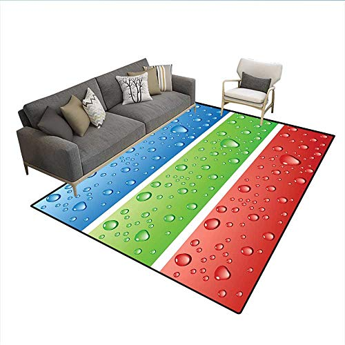 Carpet Vibe Deluxe - Carpet,Water Drops on a Plastic Surface Like Summer Vibes Image Artwork Print,Customize Rug Pad,Red Fern Green Blue_1 6'6