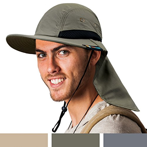 SUN CUBE Fishing Sun Hat for Men with Neck Cover Flap, Wide Brim Bill Shade, Adjustable Fit Chin Strap for Outdoor, Hiking, Safari, Hunting | Summer UPF 50+, Breathable Mesh| Packable Cap (Olive)