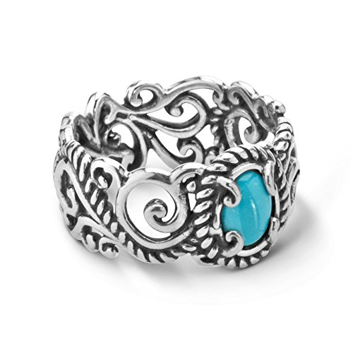 Carolyn Pollack Sterling Silver Sleeping Beauty Turquoise Banded Ring,9