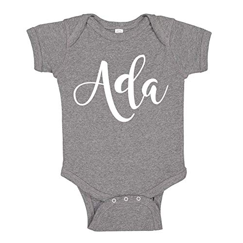 Mashed Clothing Ada - Personalized Name Baby Bodysuit (Granite 12 Months)