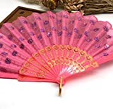 Pink 10Pcs/Lot Portable Pocket Mini Fan Peacock Tail Folding Sequins Hand Fan Party Decor