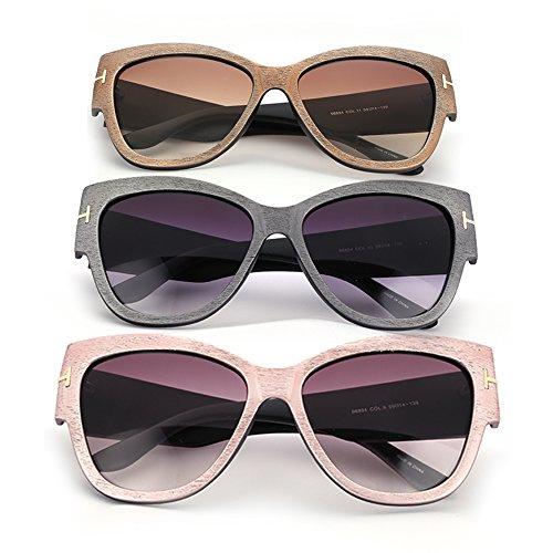 Menton Ezil Fashion Oversized Wood Grain Tortoise Frame Vintage Cat Eye Sunglasses Pack Clear Lens 100% UV - Protection Uv Glasses 100 Clear