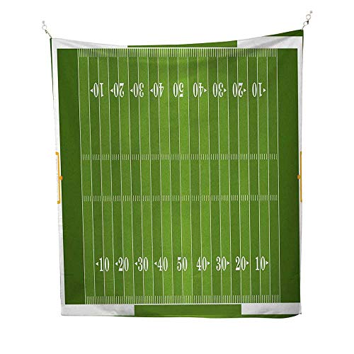 Footballspace tapestrySports Field in Green Gridiron Yard Competitive Games College Teamwork Superbowl 54W x 84L inch Wall Hanging tapestryGreen White - Gridiron Post Game