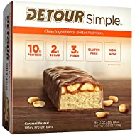 Detour Simple Whey Protein Bar, Caramel Peanut, 1.1 Ounce, 9 Count