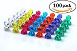 MagTacs Strong Magnetic Push Pins - 7 Assorted Color Office Magnets - Perfect Magnets for Whiteboard, Refrigerator, Map and Calendar (100)
