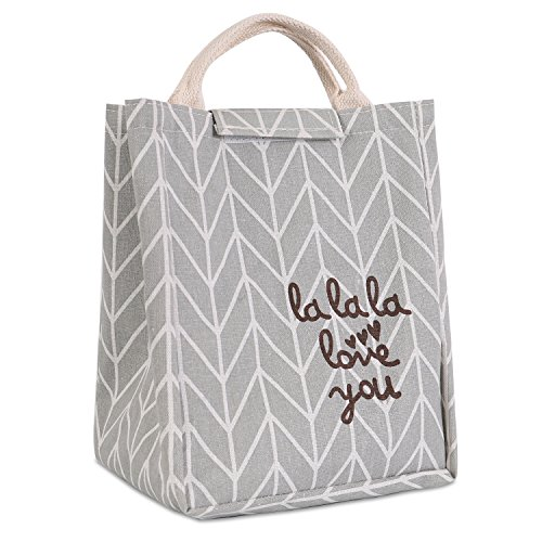 HOMESPON Reusable Lunch Bag Insulated Lunch Box Cute Canvas Fabric with Aluminum Foil, Printed Lunch Tote Handbag Fordable for Women,Men,School, Office (Love You Letter) - Gathered Tote Bag