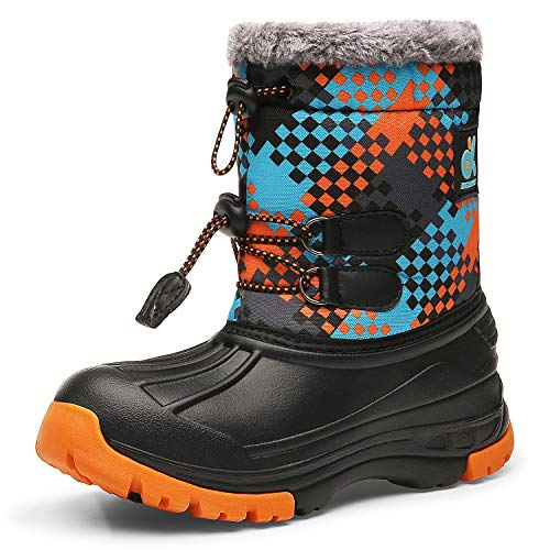 Kids Snow BootsBoys & GirlsWinterBoots Waterproof Cold Weather Outdoor Boots (Toddler/Little Kid/Big Kid) DKTX001-T9-31 (Best Non Slip Winter Boots)