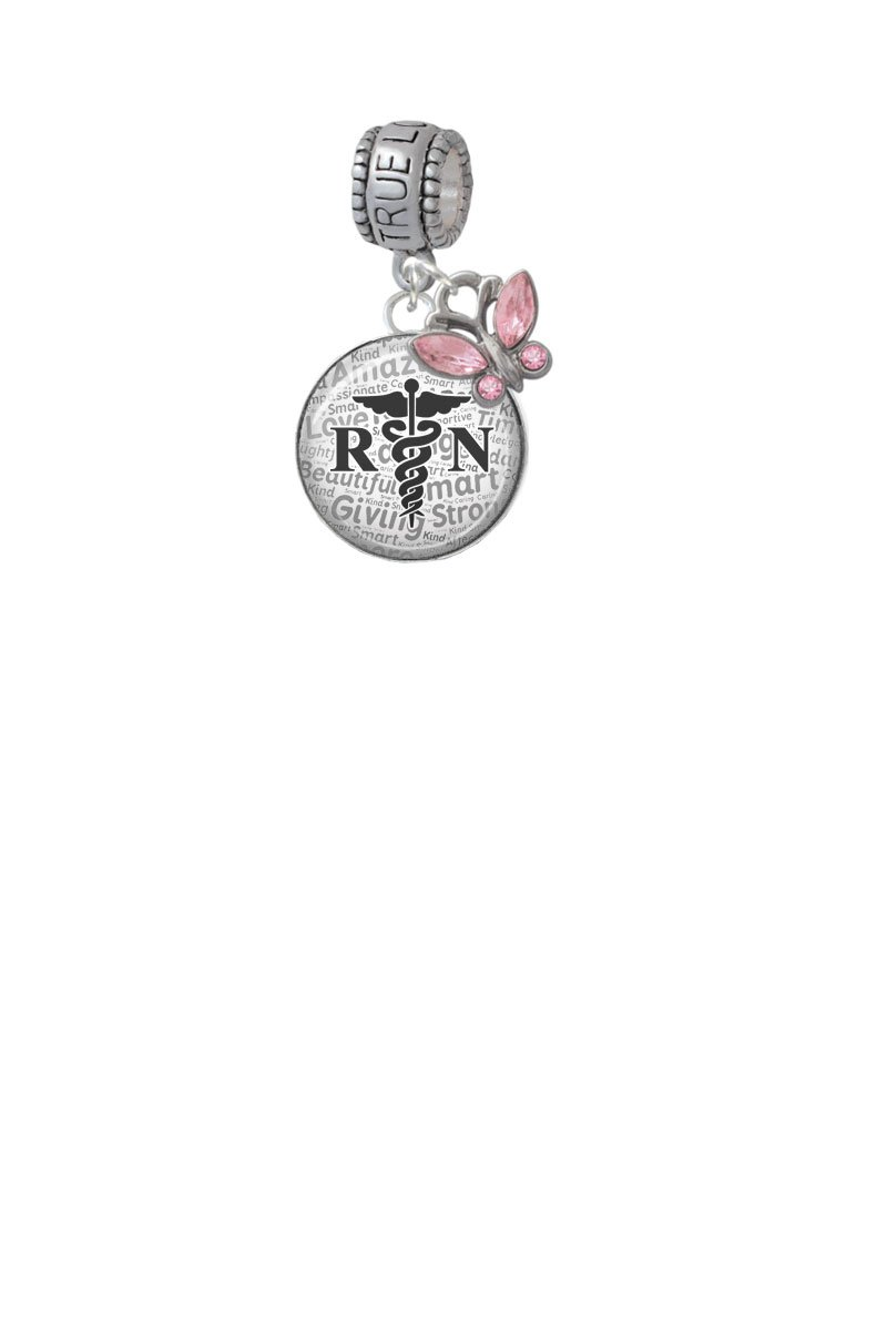 Domed Black RN True Love Waits Charm Hanger with Mini Pink Butterfly