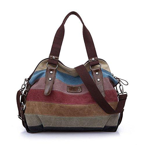 WAWJ Multicolore borse tote per le donne Tela Borsa a tracolla