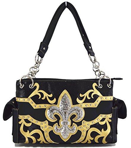 Blancho Ropa de cama Mujer [patrón clásico] Bolsa de cuero de PU Bolsa Handbad bolso elegante Handbag-Negro
