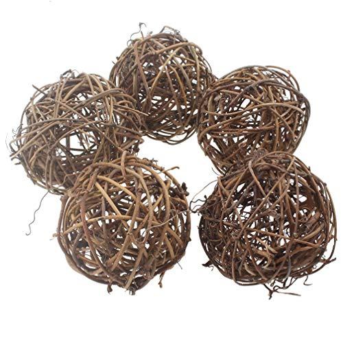 Emours Willow Branch Rattan Ball Chew Toys for Small Animals Rabbits Guinea Pigs Chinchillas Pet Rats 5Pcs ()