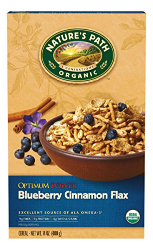 Nature's Path Organic Cereal, Optimum Power Blueberry Cinnamon Flax, 14 Ounce Box (Pack of 6)