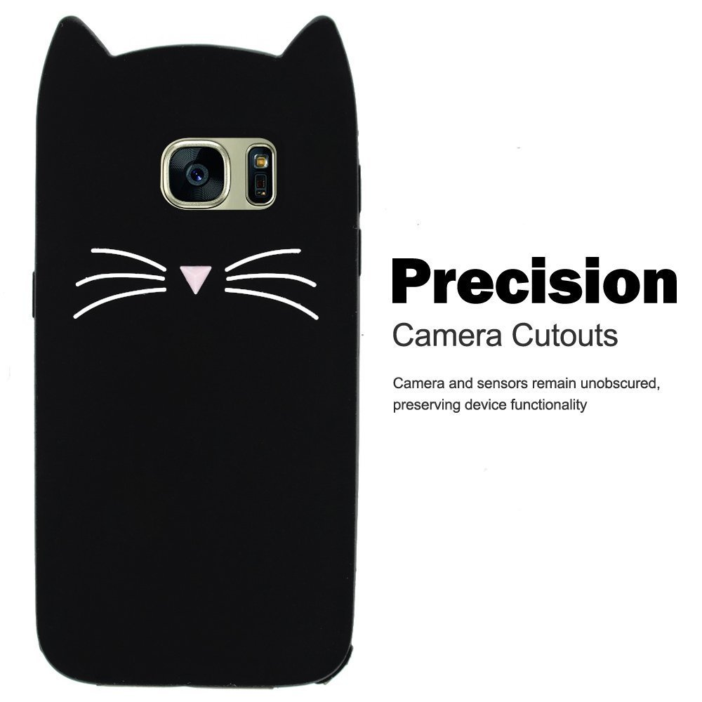 SevenPanda Silicone Cases for Samsung Galaxy S7, 3D Cat Design Cartoon Cute Cat Protective TPU Case with Anti Scratch Scratchproof Protective Shockproof Case - Black S7-HuXuMao-Hei